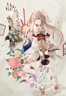 Фото Девушка с кроличьими ушками стоит с сумочкой, art by Makai no Juumin