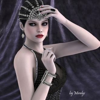 Фото Милая гламурная девушка с украшением на голове и серьгами в ушах