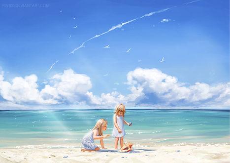 Фото Две девочки на морском берегу, by pin100