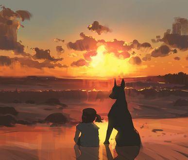 Фото Девочка и доберман сидят на берегу моря и смотрят на закат солнца, by Snaqtti89