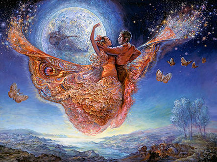 Фото Влюбленные парят в небе на фоне полной луны, художница Жозефина Уолл