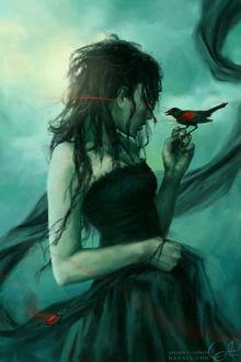 Фото Девушка с птицей на руке, by navate