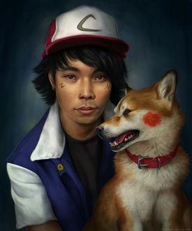 Фото Ash Ketchum / Эш Кетчум из аниме Покемон / Pokemon с собакой плроды шиба-ину, by TamberElla
