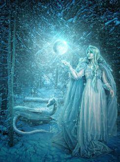 Фото Девушка-волшебница создала миниатюрную луну, у ее ног лежит молодой дракон, находится в причудливом коридоре из переплетенных веток деревьев, Moon / Луна, by Jeanne Dark
