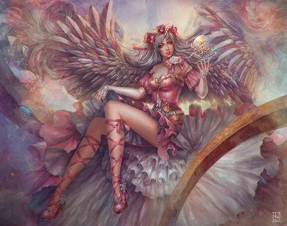 Фото Девушка - ангел в венке с шаром над рукой, by serafleur