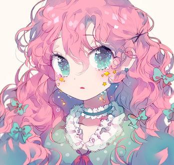 Фото Девушка с розовыми волосами плачет звездочками, art by Inhye