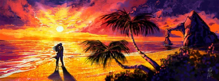 Фото Влюбленные стоят на побережье на фоне заката, by pin100