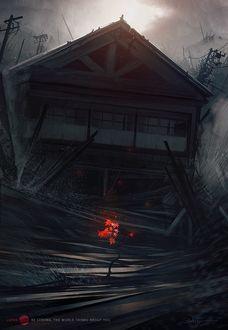 Фото Красный росток жизни вырос перед разрушенным цунами домом, by Bastien Grivet