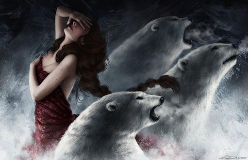 Фото Три белых медведя защищают девушку, от испуга прикрывшую рукой глаза, by Blueabyss1704