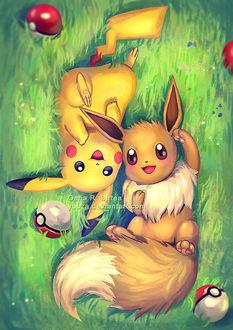 Фото Pikachu / Пикачу и Eevee / Иви из аниме и игры Pokemon / Покемон, лежат на зеленой траве среди покеболов, by Yuuza