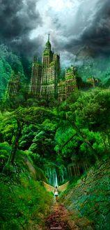 Фото Девушка с крыльями ангела идет по цветущей тропинке с огромному замку, утопающему в зелени, by alexiuss