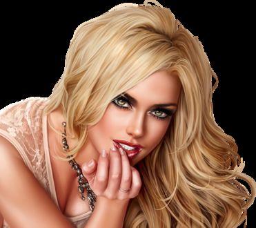 Фото Милая блондинка с голубыми глазами в украшениях