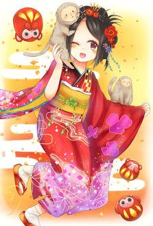 Фото Девушка в кимоно с обезьянками, art by Pixiv Id 1705403