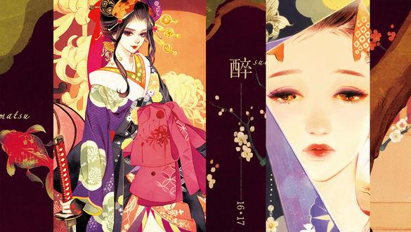 Фото Девушка в кимоно, art by Matsuo Hiromi