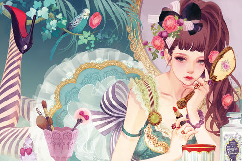 Фото Девушка лежит в окружении косметики, art by Matsuo Hiromi