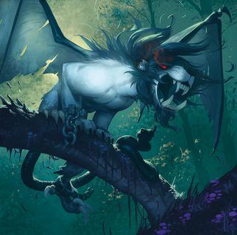 Фото Странное существо с горящими огнем глазами и длинным хвостом сидит на дереве, by Xavier