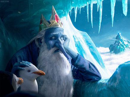 Фото Снежный Король / Ice King в ледяной пещере с пингвинами, мультфильм Время приключений