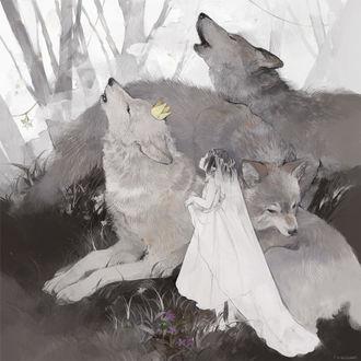 Фото Девочка в свадебном наряде и стая волков, by ねこ助