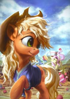 Фото Applejack / Эпплджек, Pinkie Pie / Пинки Пай, Fluttershy / Флаттершай и Rainbow Dash / Радуга Дэш из мультика My Little Pony: Friendship Is Magic / Мои маленькие пони: Дружба — это чудо, by AssasinMonkey