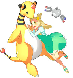 Фото Ampharos / Амфарос, Magnemite / Магнемите, Mikan / Микан из аниме, игры Pokemon, art by Pixiv Id 416292