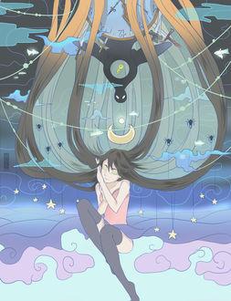 Фото Из длинных каштановых волос спящей девушки образовалось ночное небо, art by Basti