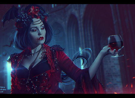Фото Девушка с кровью на лице держит в руке бокал, by nikulina helena