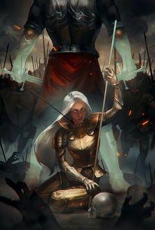 Фото Девушка в латах сидит посреди поля боя со стрелой в шее, над ней высокий мужчина с мечами, защищающий ее