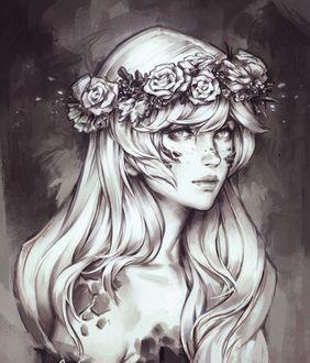 Фото Нарисованная девушка смотрит обоятельнным взглядом с венком на голове, автор jurikoi