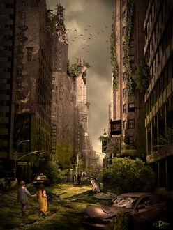 Фото Заблудившиеся дети и собака в поисках пути домой попадают в другую реальность и проходят через мертвый, давно несуществующий город, by vlaDimir