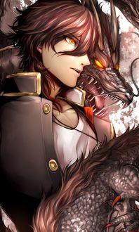 Фото Мужчина и дракон, арт по видео игре Touken Ranbu / Танец мечей