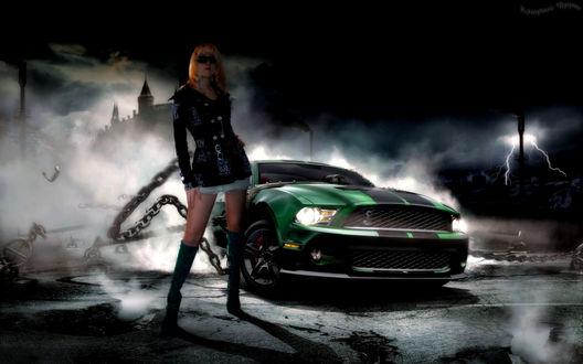 Фото Девушка рядом с авто Ford Mustang Shelby GT500 / Форд Мустанг Шелби GT500