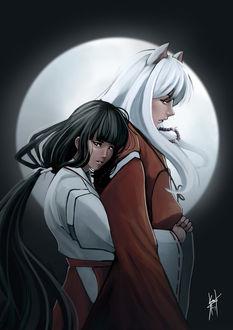 Фото Инуяша / Inuyasha и Кике / Kikyou из аниме InuYasha / Пес демон-хранитель, by Daniel Kendi