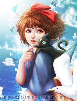 Фото Кики / Kiki и Джи-Джи / Jiji из аниме Kikis delivery service / Ведьмина служба доставки, art by MikiTakamoto