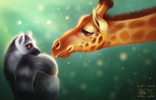 Фото Жираф тянется к лемуру, art by Scheadar