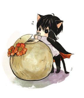 Фото Hibari Kyoya / Хибари Кея в виде чиби-котенка пьет сок из кокоса, из аниме Репетитор-киллер Реборн! / Katekyo Hitman REBORN