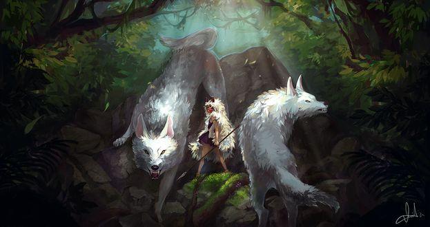 Фото Сан / San и белый волки из аниме Принцесса Мононокэ / Princess Mononoke, by einiv