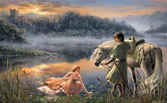 Фото Парень стоит рядом с лошадью перед девушкой в воде