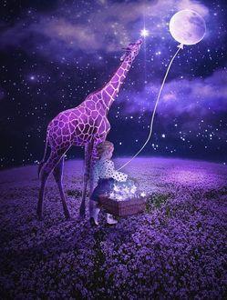 Фото Маленькая девочка идет по цветущей Земле рядом с жирафом, держа на веревочке полную луну и зажигая в небе звездочки