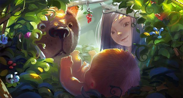 Фото Девочка и медведь смотрят на ребенка, by xiongrong