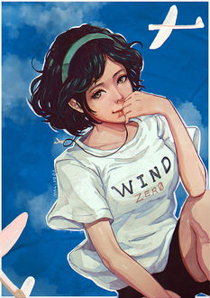 Фото Девушка с надписью на футболке Wind / ветер, by magion02