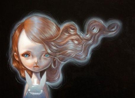 Фото Нарисованная в стиле поп - сюрреализма девочка с кроликом, на черном фоне, дизайнер из Польши Аня Томика / Ania Tomicka