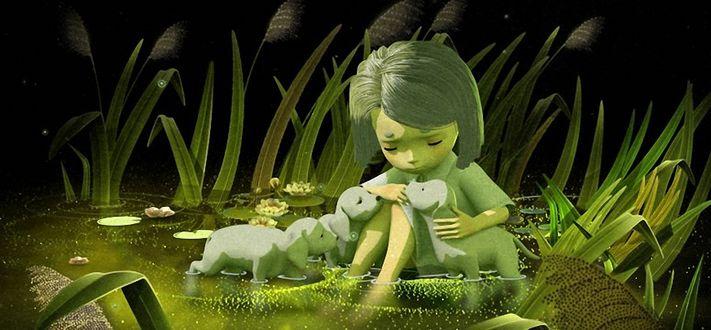 Фото Девочка Аполлина сидит в воде и играет с белыми щенками, мультфильм Первая Осень
