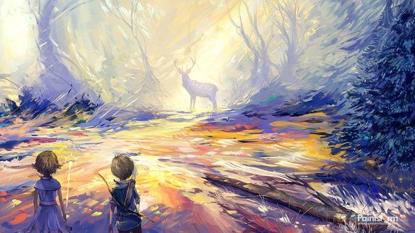 Фото Дети смотрят на оленя в лесу, by Hangmoon