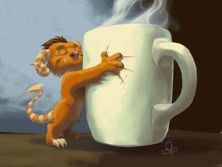 Фото Бесенок обнимает чашку с кофе, оставляя на ней царапины, by Nate Taylor