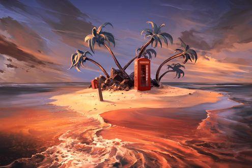 Фото Остров с пальмами и телефонной будкой, by Aquasixio - Cyril ROLANDO