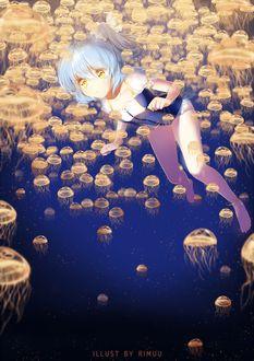 Фото Девушка плавает под водой в окружении медуз, by rimuu