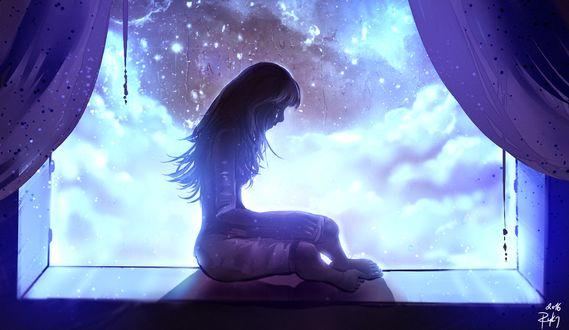 Фото Работа I Miss You / я скучаю по тебе, девушка сидит на подоконнике окна, by ryky