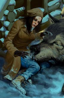 Фото Огромный волк положил голову на ноги сидящей на снегу девушки, by nemoi