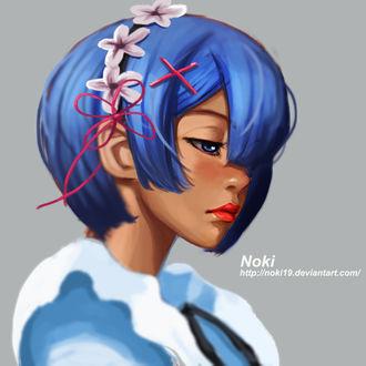 Фото Горничная Rem с цветами в волосах из аниме Жизнь с ноля в другом мире / Re Zero kara hijimeru isekai seikatsu, by nOki19