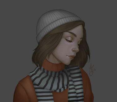 Фото Девушка в шапочке и шарфе, by Xelandra